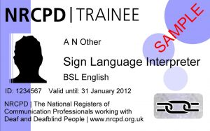 Sample ID cards for a regulated trainee interpreter