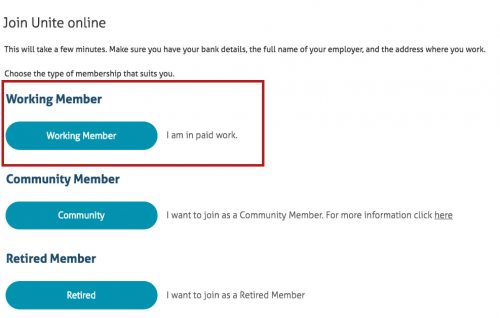 join unite working person option