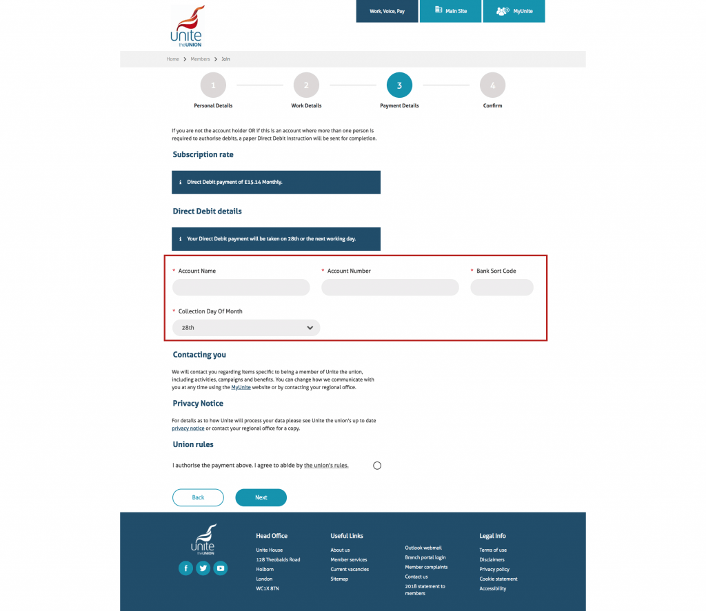 payment stage for joining Unite